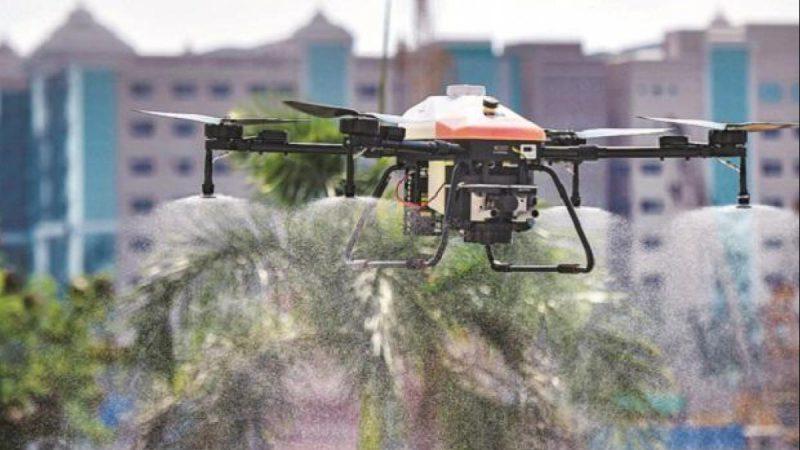वाराणसी में ड्रोन की मदद से किया गया सैनिटाइजर स्प्रे