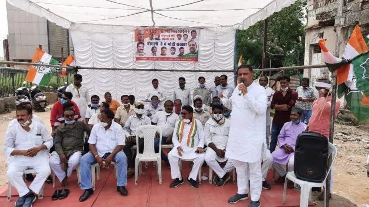 महंगाई को लेकर केन्द्र सरकार के खिलाफ कांग्रेस का लगातार प्रदर्शन जारी : गिरीश दुबे