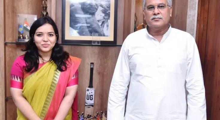 मुख्यमंत्री से भारतीय विदेश सेवा की अधिकारी सुश्री बरखा ताम्रकार ने मुलाकात की